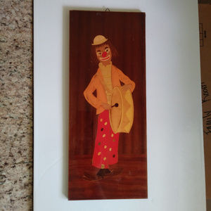 Other - Vintage Clown Art - 60s/70s - Inlaid Wood - Italy